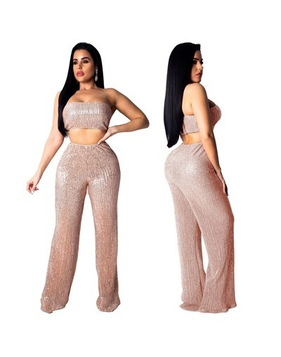 Women Fashion Sequins Strapless Two Piece Set Sexy Tube Top + Wide Leg Pants Night Club Party Suits Summer Outfits - gold tw...