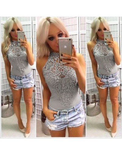 New Ladies Women Sleeveless Bodysuit Lace Leotard Body Tops Shirt Jumpsuit Lace Hollow Out Fashion - Gray - 32835563963