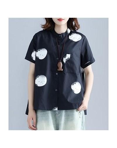 2019 New Summer Vintage Cotton Linen women blouses Fashion shirt women Dot Printing Tops - black - 484124500796-1