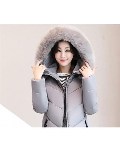 Plus size 6XL Winter Jacket New Women Down Cotton Overcoat Thick Warm Coat Elegant Slim Hooded Fur collar Jacket Female - gr...