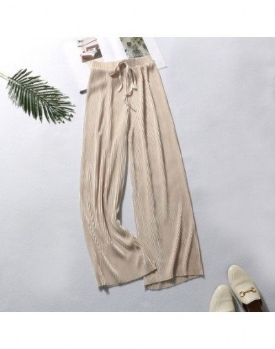 Summer Wide Leg Pants For Women Casual Elastic High Waist 2019 New Fashion Loose Long Pants Pleated Pant Trousers Femme - ap...