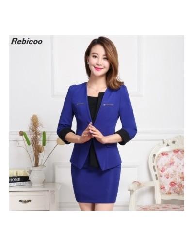 Plus Size Candy Color Skirt Suits Summer Style 2019 usiness Suits Formal Office Suits Work Elegant Blazer - light blue - 4J3...