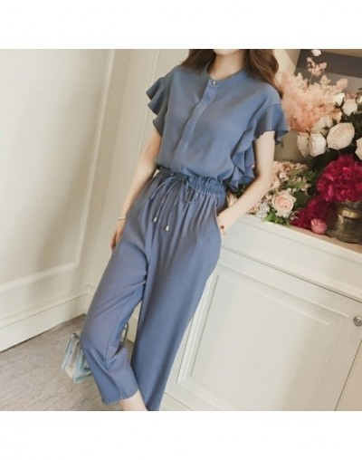 Formal Chiffon Pant Suit Woman Summer Wear Solid Fashion Blouse+High Waist Ankle Harem Pant Black Blue Plus Size Two Pieces ...