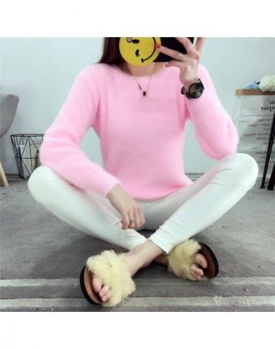 Autumn Winter New Korean Women Elegant Velvet Fluffy Sweaters Female Knitted Long Sleeve Candy Pullovers Femme Tricot Pull -...