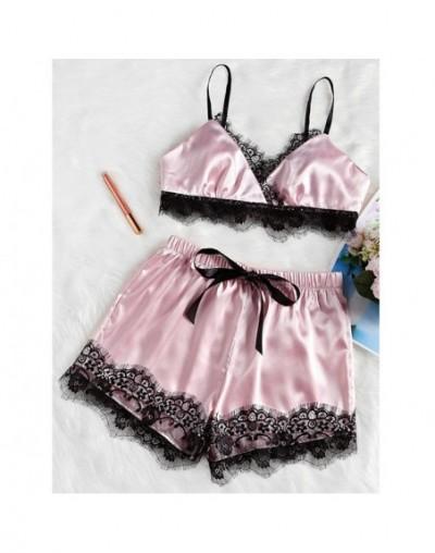 2PCS Set Women Sexy Satin Lace Sleepwear Babydoll Lingerie Nightdress Pajamas - Pink - 4F3041036635-4