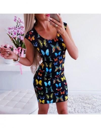 Women Dress Sexy O-Neck Short Sleeve Butterfly Print Mini Dress Office Ladies Slim Fit Summer Dress - Black - 4K4132947258