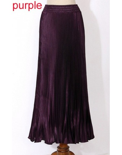 2018 spring and summer women new fashion pleated long women skirt fashion solid flared maxi skirt for women - purple - 4Z374...
