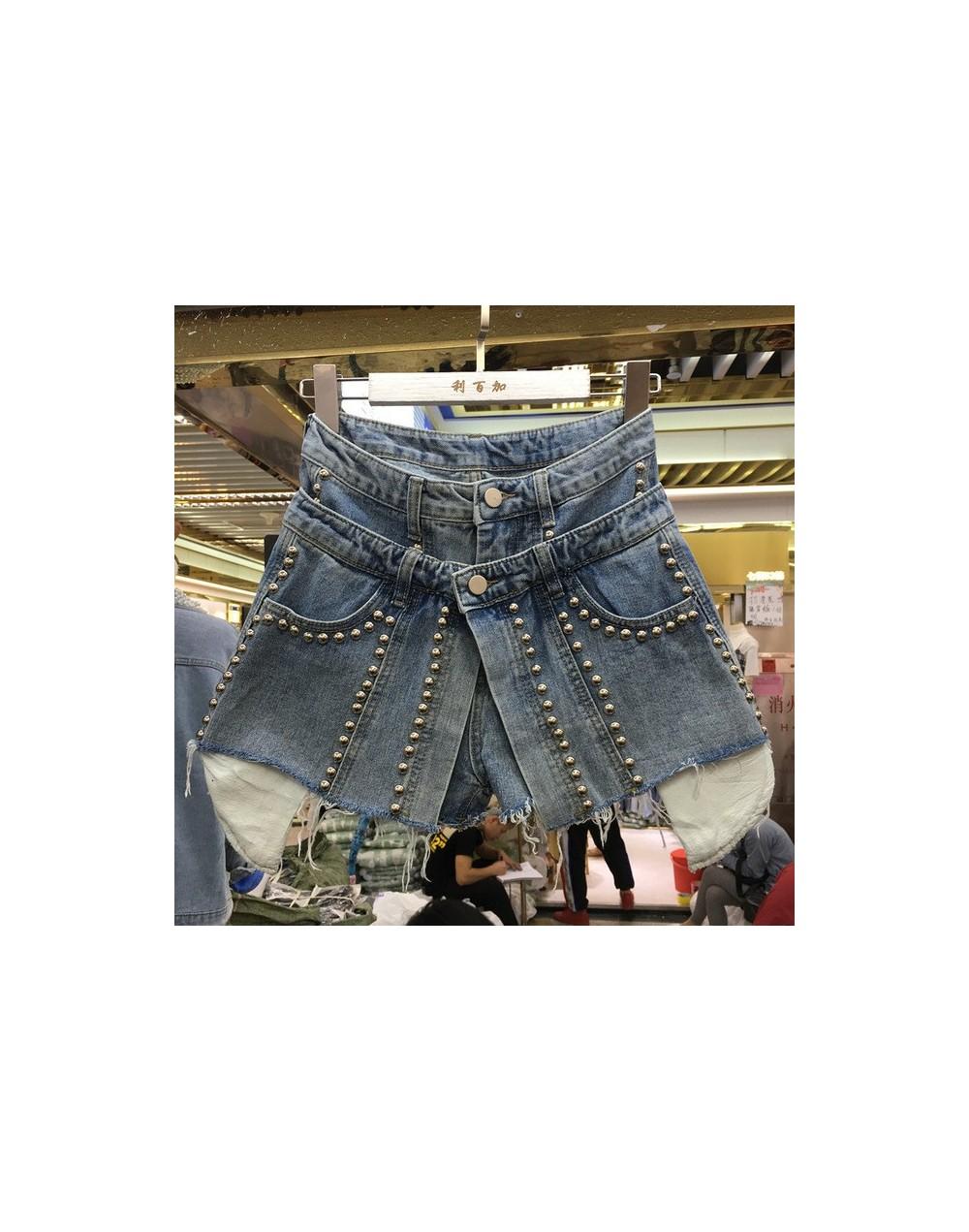 2019 Korean Fashion High Waist Trousers New Summer Spring Denim Fake Two Pieces Beading Loose Women Shorts FN412 - denim BLU...