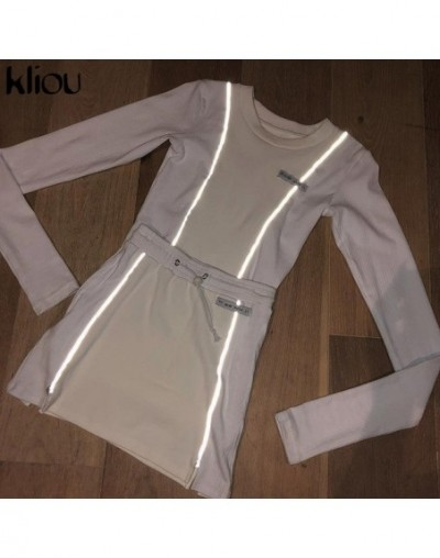 women fashion Reflective Striped patchwork two pieces set 2019 white full sleeve crop top bottom skirts outfit tracksuit - W...