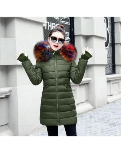 Fake Fox Fur Collar Winter Coat Women 2019 New Fashion Winter Jacket Women Parka Long Down Jacket Female Warm Outerwear - Co...