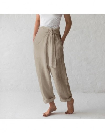2019 Summer Vintage Women Linen Trousers Casual High Waist Wide Leg Pants Loose Harem Pants Pantalone Palazzo Femme S-5XL - ...