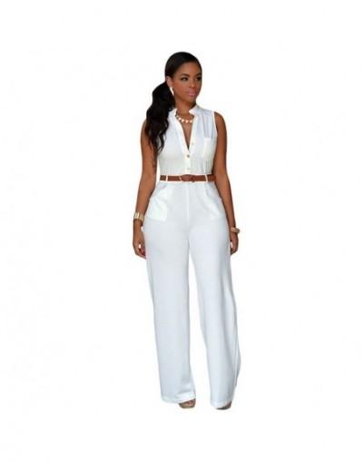 Newest Sleeveless Belt Fashion Women Ladies Jumpsuit - White - 4B3005184387-7