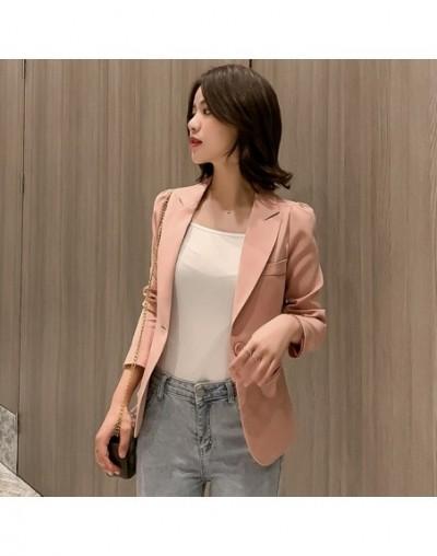 Temperament Commuter Solid Color Long Sleeve Blazer Women Casual single button office jacket female 2019 autumn short suit -...