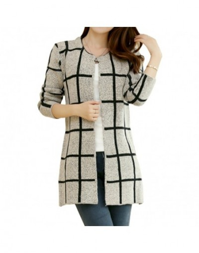 Spring Autumn Long Coat Winter Sweater Women New Korean Loose Big Yards Thin Plaid Knit Cardigan Female Vestidos LXJ253 - Re...