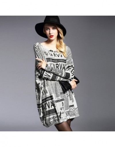 Winter Fall New Plus Size Letter Printed Sweater for Women Loose Fashion Batwing Sleeve Sweaters Pullovers Long Knitwear - L...