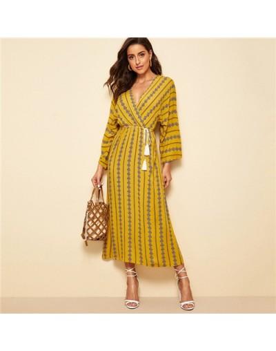Boho Argyle Print A Line Dress Women 2019 Spring Kimono Sleeve High Waist Dresses Ladies Fringe Lace Up Maxi Dress - Ginger ...
