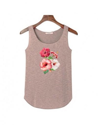 Hot Flower Tank Tops Shirts Women Summer Sleeveless O-neck Top Tank Fashion Ladies Leisure Tops Tees Elasticity Slim Tops Cr...