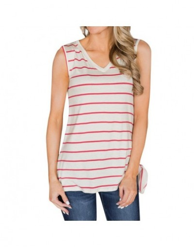 Women fashion Summer Sleeveless Striped Vest Blouse Tank Tops Clothes T Shirt women clothes 2019 - White - 5X111218516152