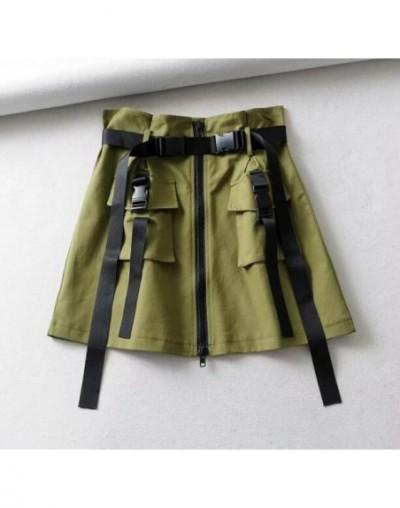 Summer Big Pockets Short Cargo Skirts Women High Waist Vintage Ribbon Skirt High Quality Women Harajuku A-Line Short Skirt -...