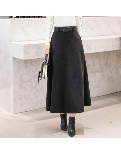 Winter Women's Wool Maxi Skirts With Belt 2019 Fashion Vintage Woolen Skirt Female Streetwear Casual Saia Longa Wine Red - g...