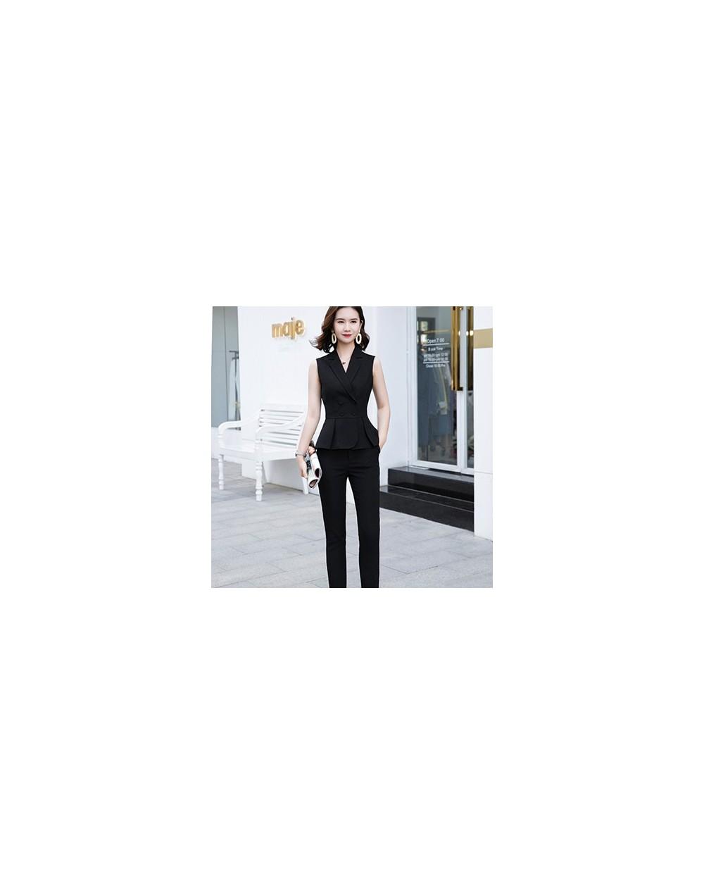 Summer Wear Short Sleeve Women 2 Piece Set Fashion Pant Suit Size S-4XL Slim Vest Sleeveless Jacket Blazer With Pant Red - B...