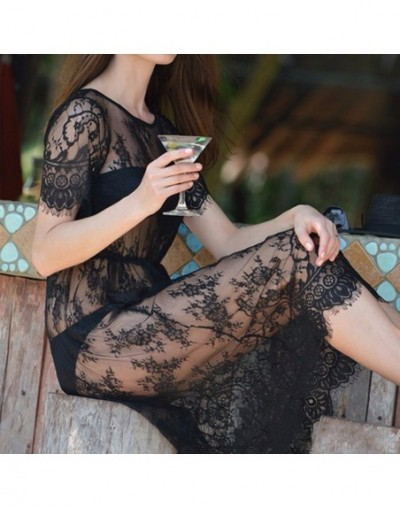 Women Lace Dress Casual Maxi Dresses Long Lace Black Short Sleeve O Neck See Through Beach Wear Fringed Party Dresses - WHIT...