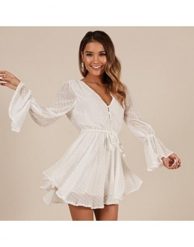 Sexy Transparent Playsuit Summer Bohemian Beach Overalls Pink Polka Dot Short Jumpsuit Women Rompers Long Sleeve Plus size -...