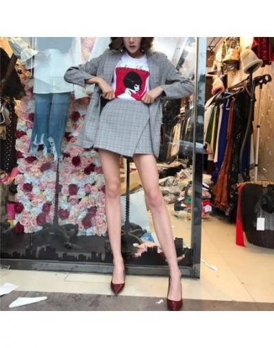 Vintage Plaid 2 Piece Set for Women Skirt Suits Single Button Blazer & High Waisted Mini Skirt Female Work Business Sets - G...