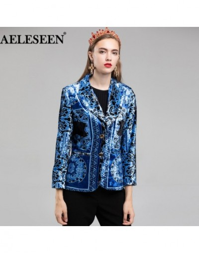 Velvet Jacket Blazer 2018 Autumn Winter Designer Women Luxury Royal Blue Printed Slim Long Sleeve Blazer - 4Y3040491939