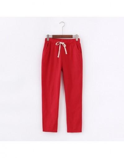 Lace Up Summer Pants Women Sweatpants Pantalon Femme Candy Colors Cotton Linen Harem Pants Casual Plus Size Trousers Women C...