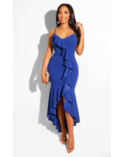 Ruffles Split Backless Sexy Long Dress Summer Spaghetti Strap Irregular Casual Bodycon Dress Elegant Party Dress Women - Blu...