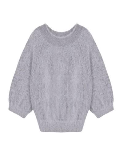 winter women's angora rabbit pullovers sweater long sleeves slash neck High elasticity keep warm loose jumper thick - Light ...