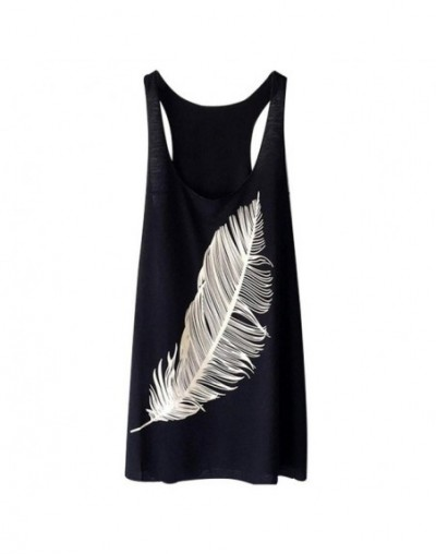 Womens Fashion Summer Feather Print Long Vest Fashion Ladies Tank Top - Black - 53111217830026-1