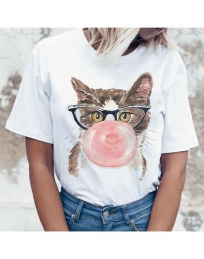 New Funny Cat Casual Short Sleeve T Shirt for Women Harajuku New Summer T-shirt Kawaii Cats White Tshirt Fashion Top Tees Fe...