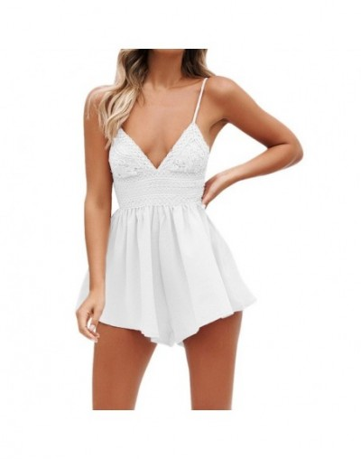 Sexy Lace spaghetti straps palysuits 2019 Women Summer Bowknot Backless Mini Jumpsuits Evening Party candy color Beach Jumps...