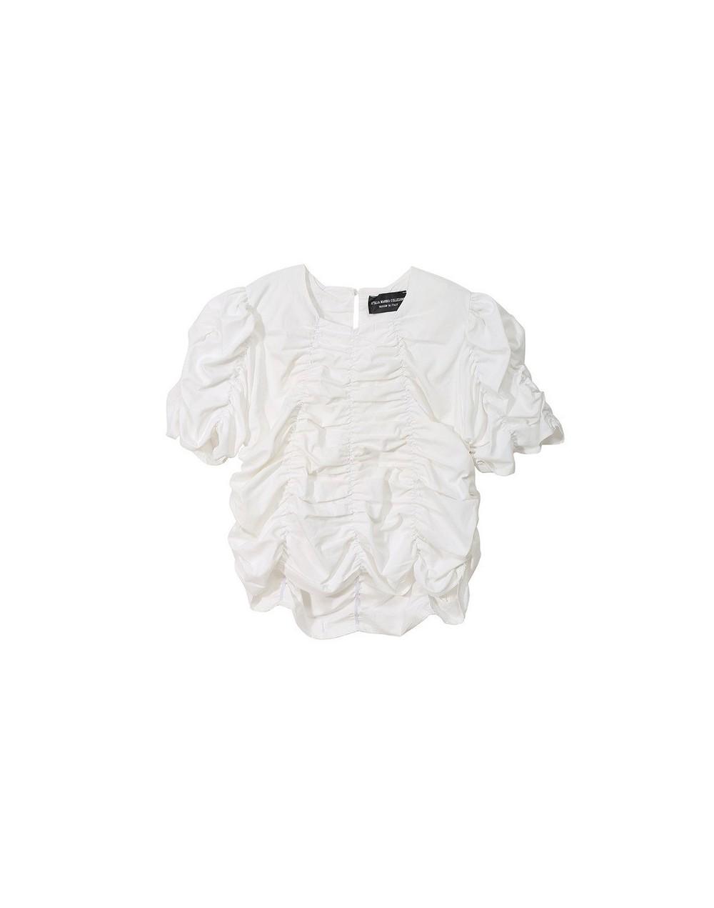 2019 New Spring Summer Round Neck Short Sleeve White Pleated Stitch Loose Personality Shirt Women Blouse Fashion JU840 - whi...