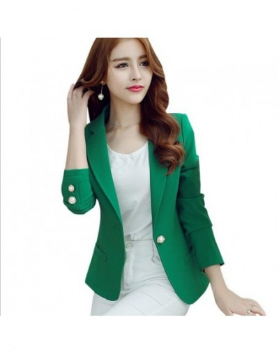 Women Blazers 2019 Green Color Long Sleeve Jackets Solid Single Button Coat Slim Office Lady Female Tops Blazer Feminino - g...