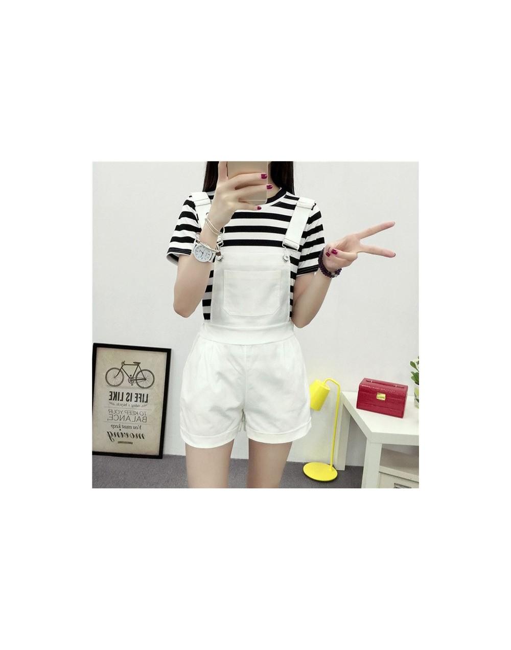 Women Elastic Waist Dungarees Linen Cotton Pockets Rompers Playsuit Strap Shorts Pants - TGZ93-WT - 33036109765