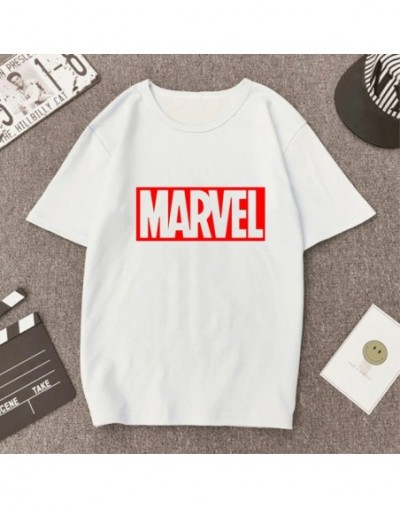 2019 NEW Summer T Shirts Womens Tshirts Female girls Tops Tees T-Shirts Slim womans MARVEL RED letter white black Round neck...