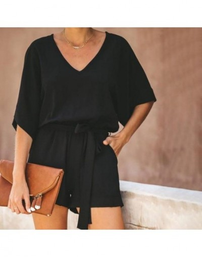 Women Sexy V-Neck Lace Up Jumpsuit Femme Rompers Fashion Solid Color Casual Playsuit Chiffon Short Sleeve Bodysuit - Black -...
