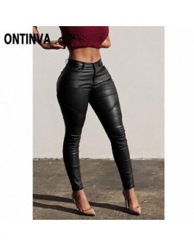 Hip Push Up PU Leather Leggings High Waist Pencil Pants Sexy Women Skinny Trousers Ruched Burgundy Black Legging Girls Jeggi...