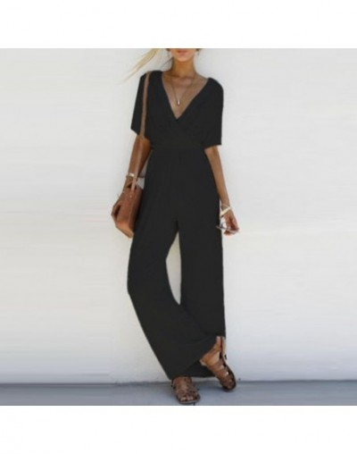 2018 Women Jumpsuit Romper Short Sleeve V Neck Casual Playsuit Overalls Ladies Wide Leg Loose White Black Pink Playsuit - Wh...