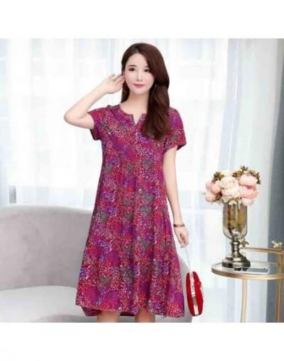2019 Tops New arrival women summer dress print plus size women casual short sleeve dresses vestido de festa - color 4 - 4Y39...
