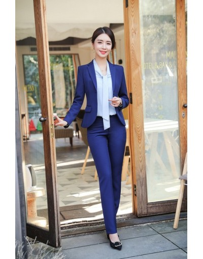 Professional women's suits pants suit 2019 spring and autumn new solid color full-sleeve blazer Women's slim trousers two-pi...