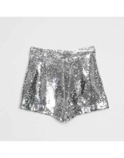 Bling Sexy Club Women Sequin Shorts High Waist O-Ring Zip Front Bodycon Shorts Pockets Skinny Party Festival Raves Dance Sho...
