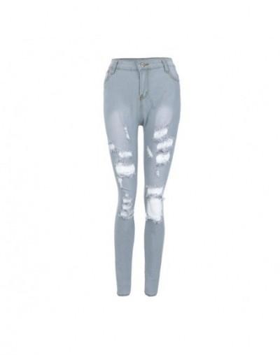 Women Jeans Mid Waist Hole Slim Skinny Jeans Pencil Pants pantalon jean femme vaqueros mujer джинсы женские большие размеры ...