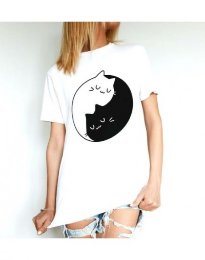 Cat Print Women tshirt Cotton Casual Funny t shirt For Lady Girl Top Tee Hipster Drop Ship Y-71 - White - 473075544095-3