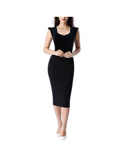 Women Elegant Ruffle Sleeve Ruched Floral Dot Print Solid Color Casual Cocktail Party Slim Bodycon Sheath Midi Dress 030 - B...