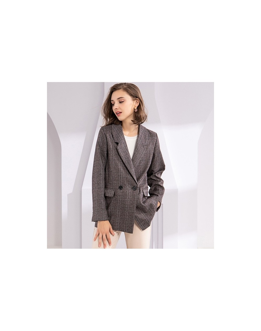 New 2019 Autumn Winter Women's Blazers Plaid Double Breasted Pockets Formal Jackets Notched Outerwear Tops JK7113 - Brown - ...