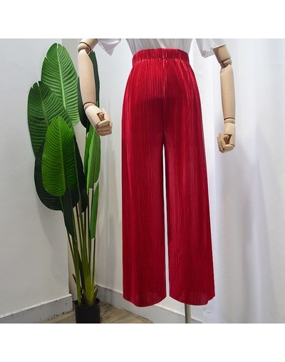2019 spring summer new fashion women Vintage High waist Wide Leg Pants Women Full-Length Loose Soft Thin Pleated Pants Ladie...